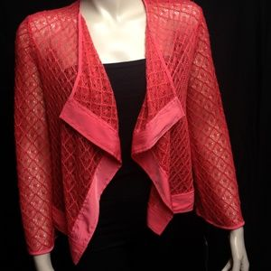 Peck & Peck Coral Cardigan Sweater Top Fishnet NWT